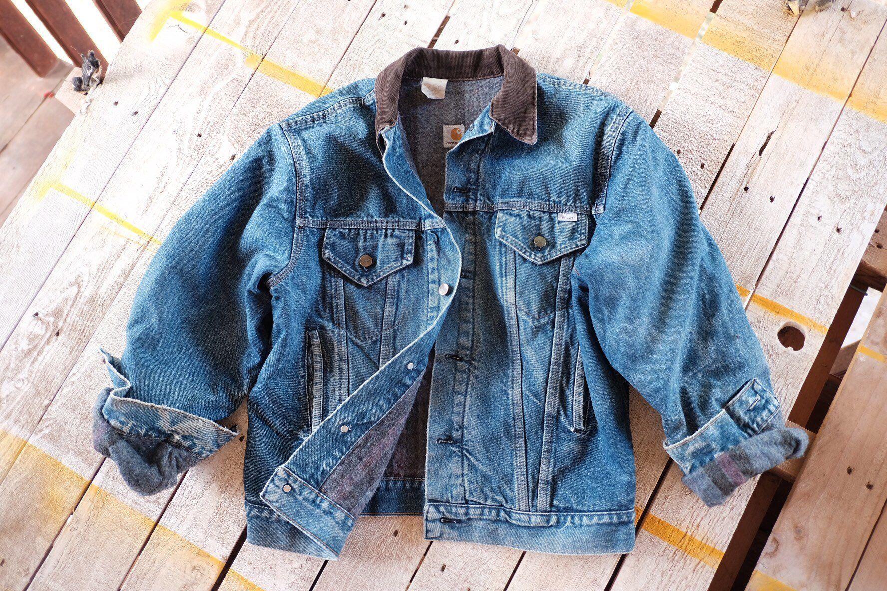 Rare Vintage Carhartt Denim Jacket Brown Corduroy Collar Etsy Carhartt Denim Jacket Carhartt Jacket Denim Jacket [ 1184 x 1776 Pixel ]