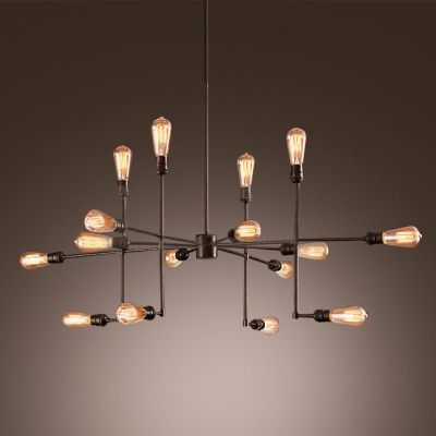 Vintage Industrial Black Metal Sputnik Ceiling Edison Lamp Chandelier 18 Heads