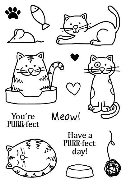 Jane's Doodles CATS Clear Stamp Set 742569 zoom image | Cat doodle ...