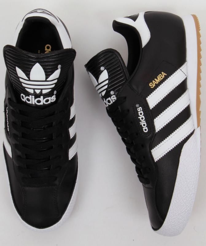 0bee19d2da3 Adidas Originals Mens Samba Super Trainers in Black White Leather