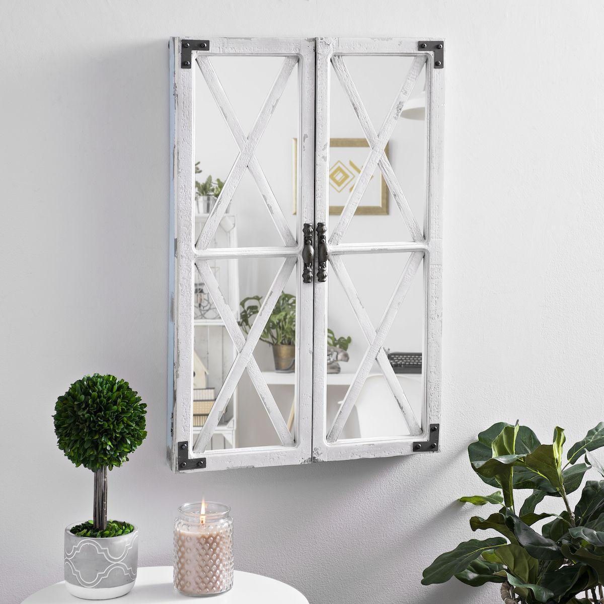 White Shutter Barn Door Decorative Mirror White shutters