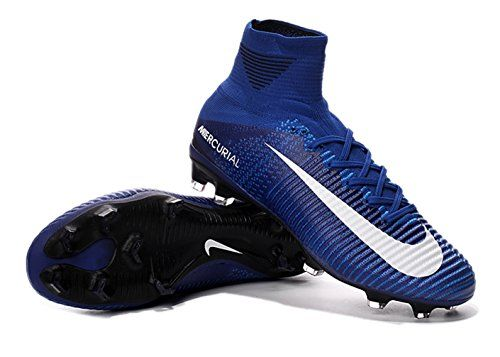 bf2a63e8a051 Mens-High-Ankle-Soccer-Shoes-Nike-Mercurial-Superfly-V-FG -Blue-US-95-EUR-43-0