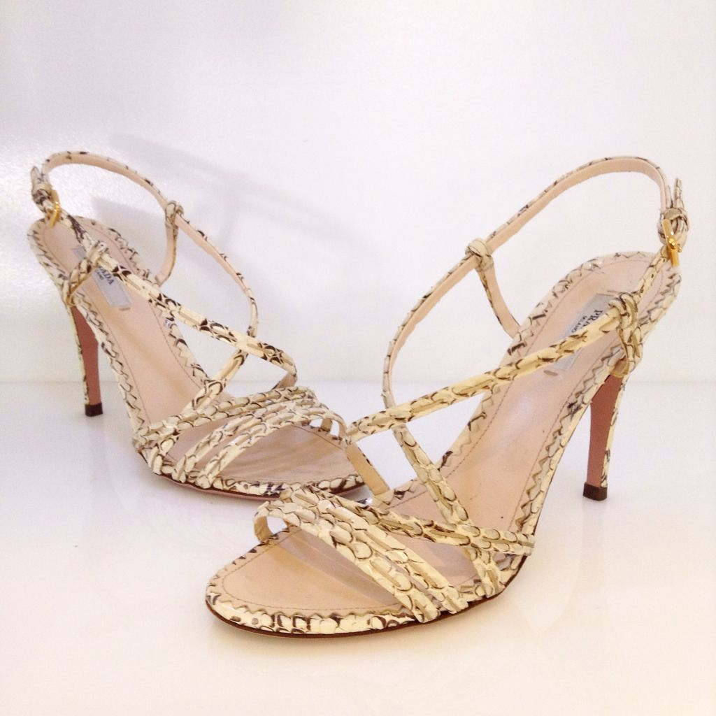 4089c92d35a7 Prada cream and grey snake skin strappy heel. Size 37.5. Please call  (949)715-0004 for inquiries.