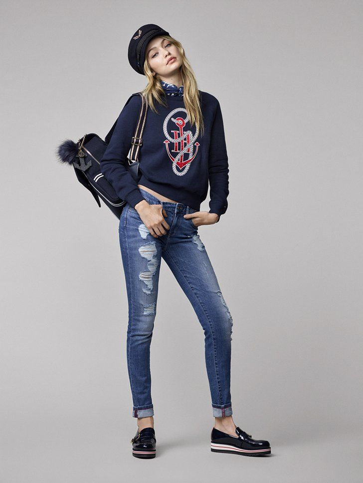 b2959dab9 Pin for Later  Finally  The Gigi Hadid x Tommy Hilfiger Lookbook Is Here  She even designed a more casual look you can wear to Sunday brunch.