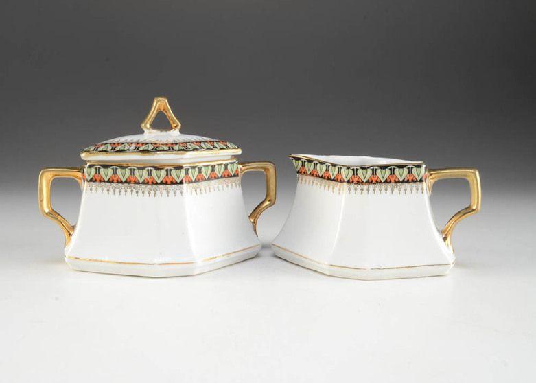 Set of Art Deco-style Porcelain Creamer and Sugar