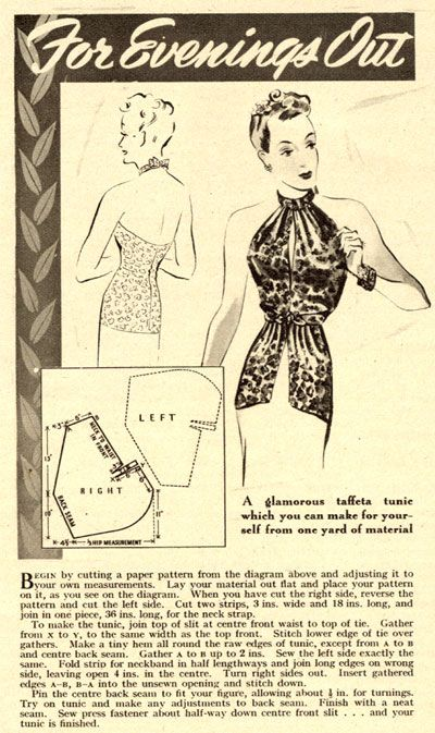 Vintage Chic: 1939 Evening Tunic Pattern.