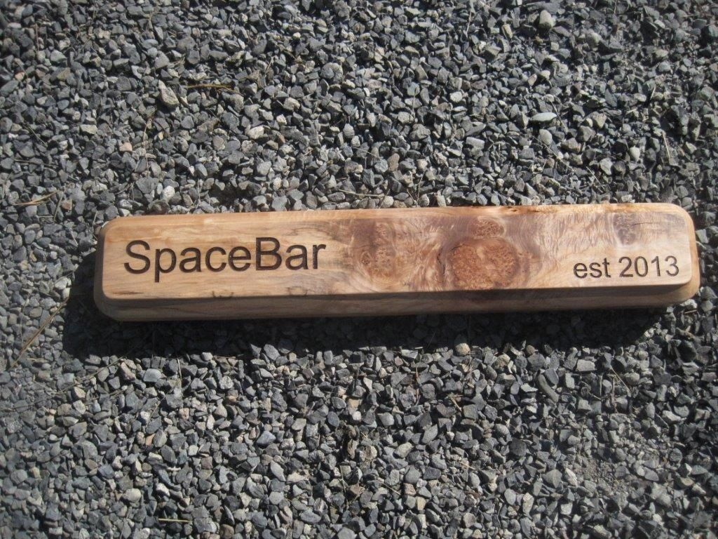 "Again Michelle was asked to come up with a sign for their coffee bar in the office. A contest was held to name the coffee bar, and guess who won....Michelle! Good job , we loved the concept and really enjoyed working with Michelle and her tasks provide great and creative signage for her workplace. . Laser cut on beautiful and rare spalted Maple. Size 30"" x 5""."