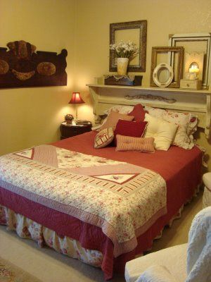 old fireplace mantle as headboard | ... neat old headboard attached ...