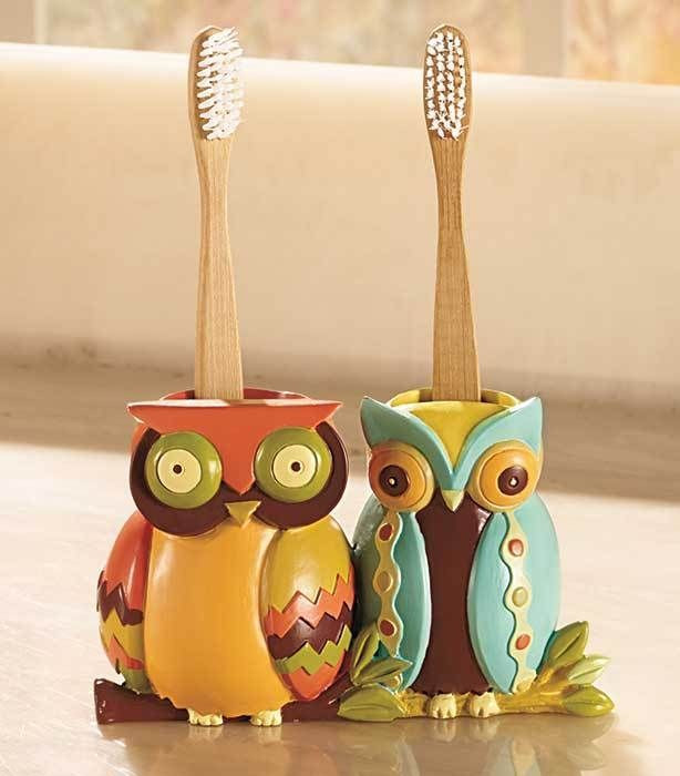 details about owl toothbrush holder cute bathroom decor colorful