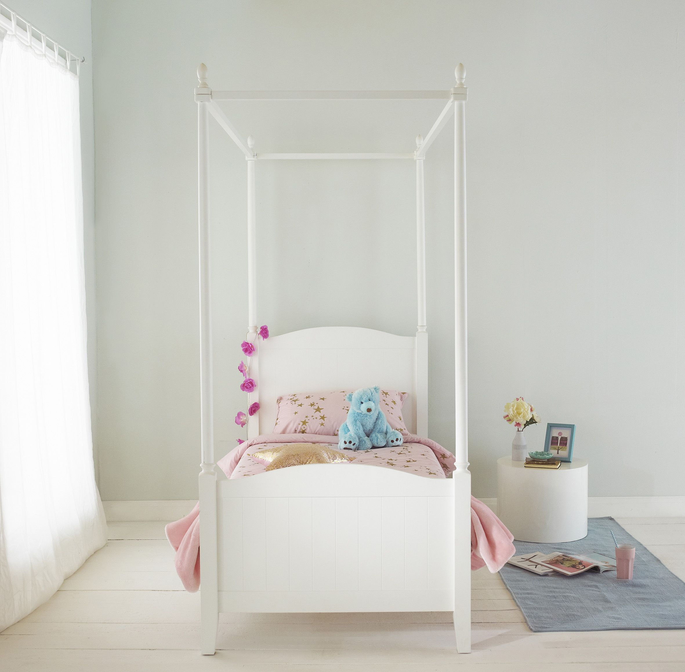 Single Four Poster Bed Florence White Single Four Poster Bed In Solid Wood Teen