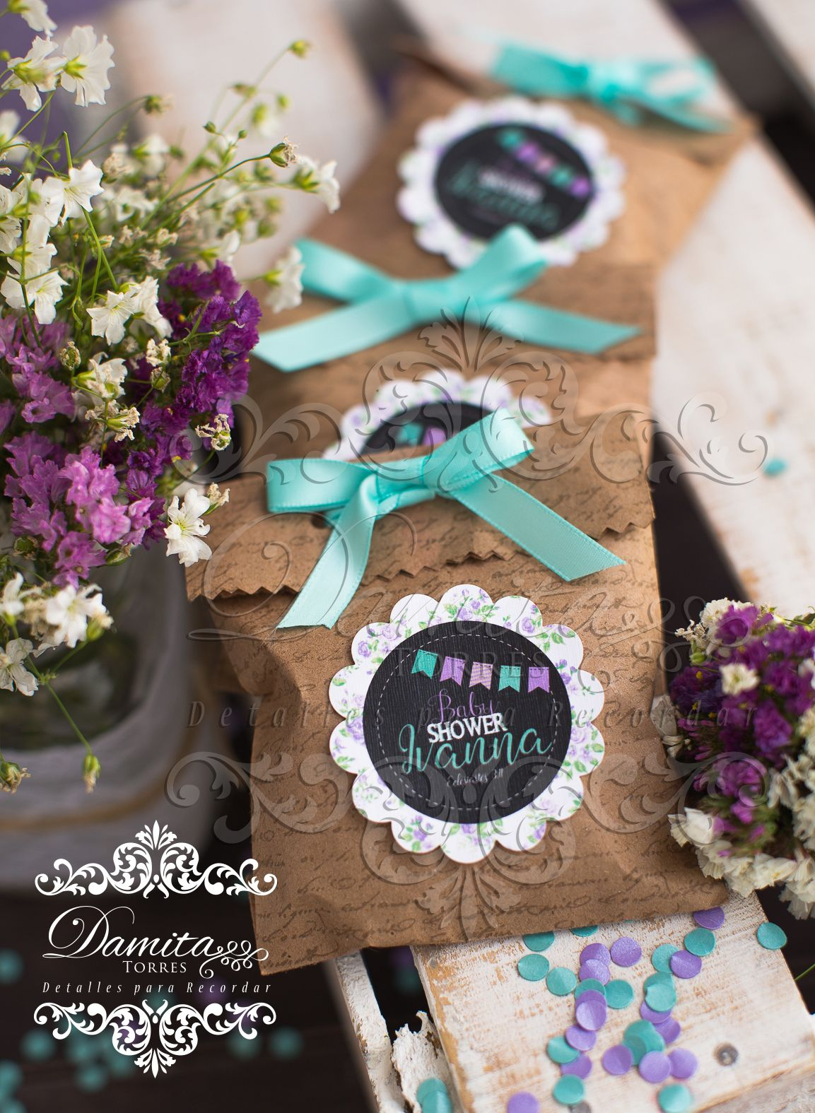 Favor Vintage Kraft Shabby Chic Baby Shower Baby