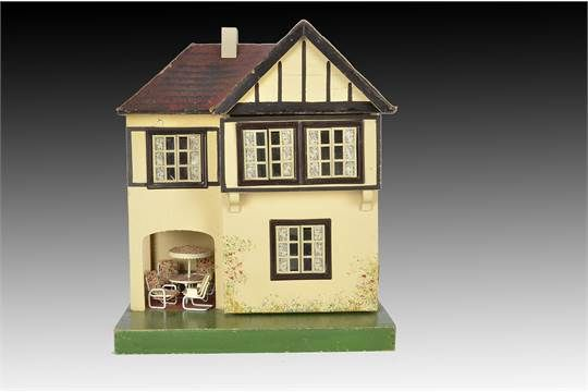 A Small Tri Ang Dolls House Dh 60 1930s With Red Tiled Roof Cream Painted Metal Windows Fron Doll House Red Tiles House