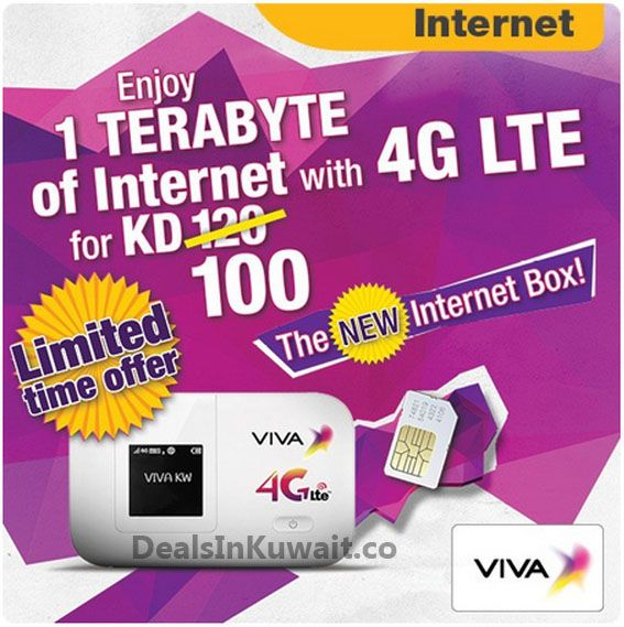 Viva Telecom Kuwait: 1TB internet with 4G LTE for KD 100