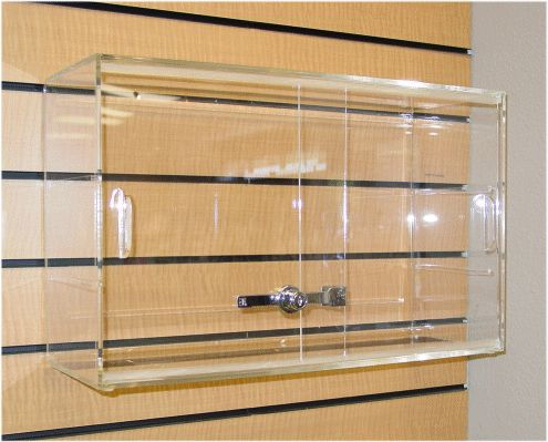 NEW Slat Wall Hanging Display Box with Compartments Acrylic Showcase Shop Office