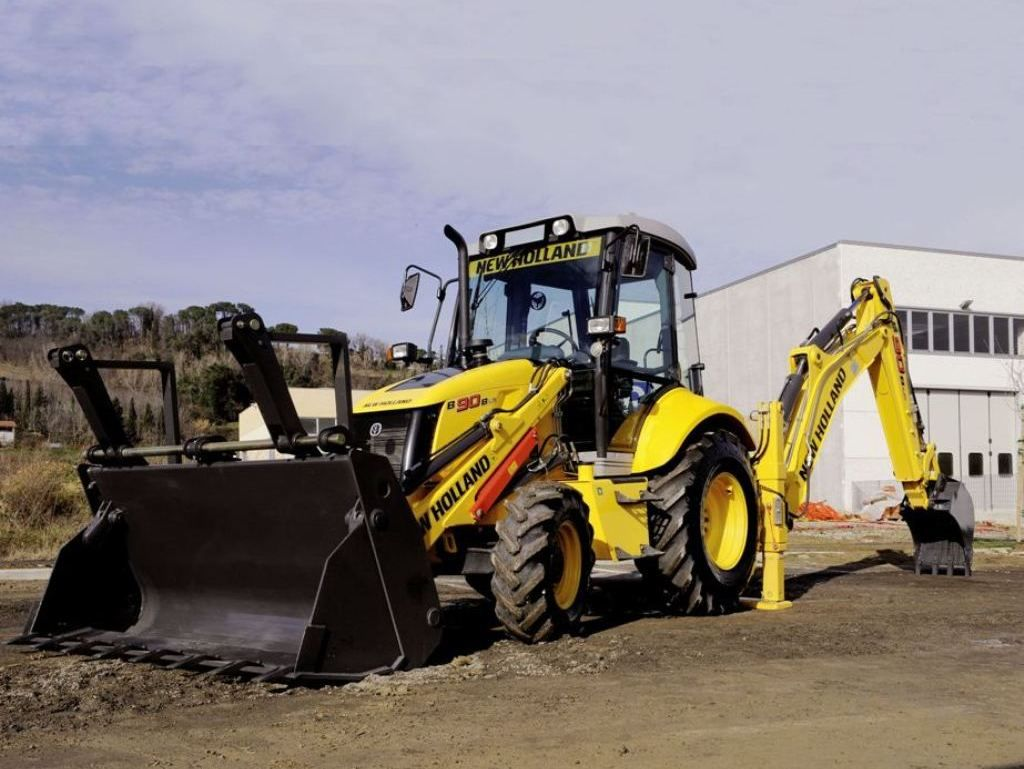 new holland 39 s b90b backhoe has a maximum dig depth of 14 feet 4 inches and a digging force of. Black Bedroom Furniture Sets. Home Design Ideas