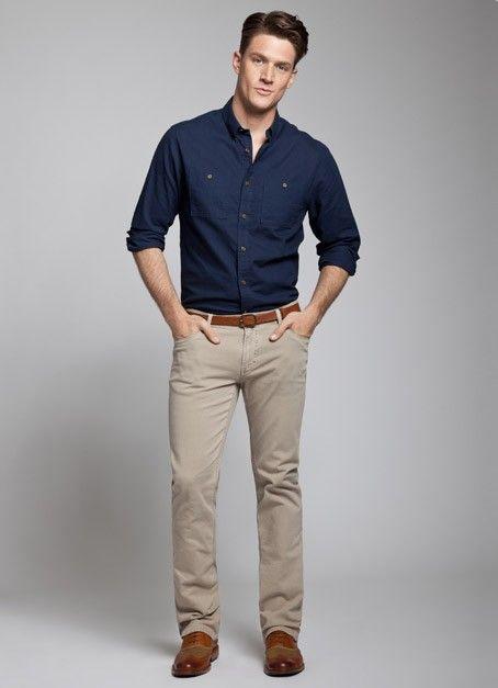 khaki pants and light shirt (light pink, light purple, mint green ...