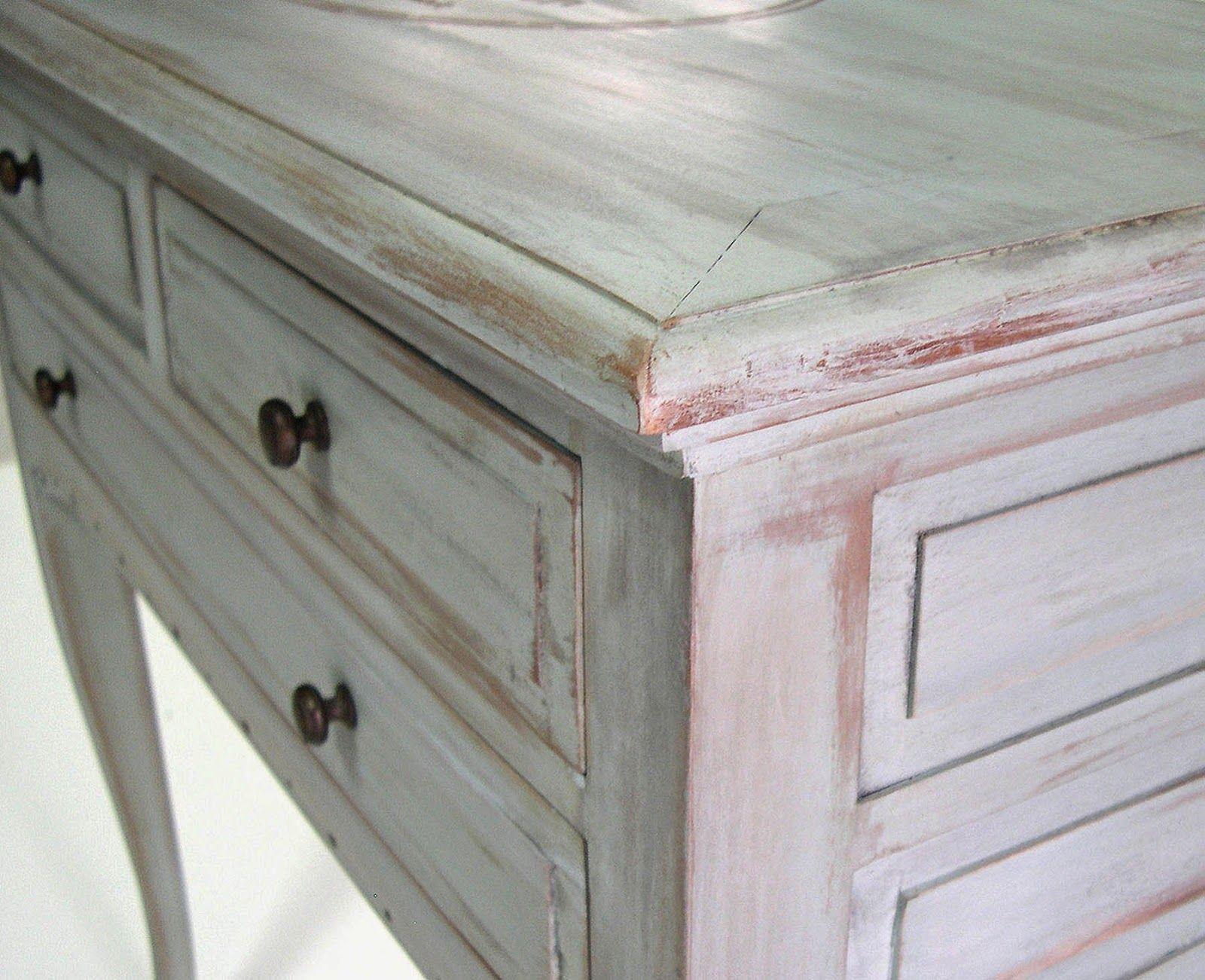 El chalky blog tecnica decapado con lija de pintura for Muebles de madera color gris