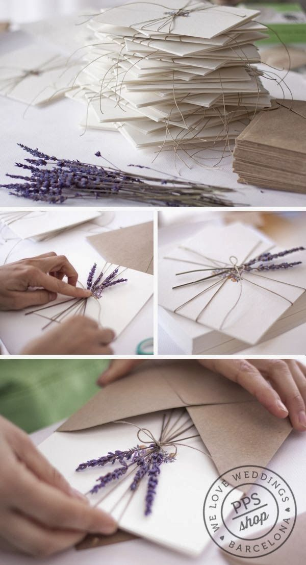 Photo of Add fresh lavender to your invitations.