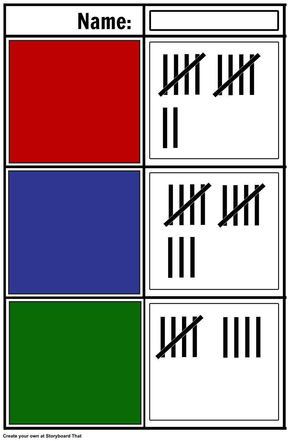 Here is an example of a tally chart with no words  | Tally Charts