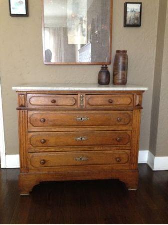 175 Antique Oak Dresser With Marble Top Plantation