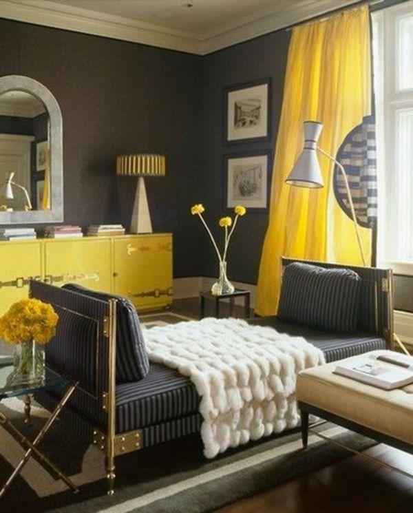 Wandfarben Ideen Fürs Schlafzimmer Gelb Und Grau Kombinieren