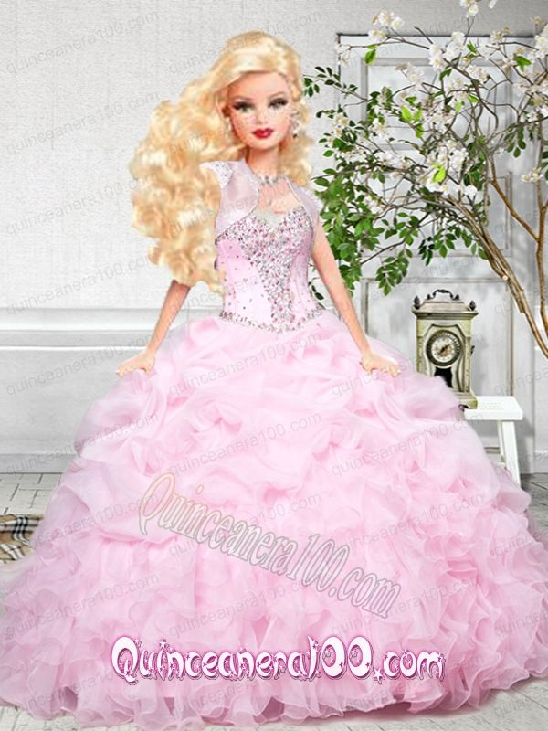 Baby Pink Quinceanera Dress For Barbie Doll with Beading and Ruffles ...
