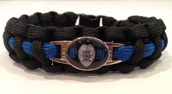 Paracord Survival Bracelet  Thin Blue Line by SaltyCanuckBoutique, $16.00