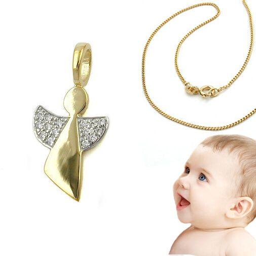 Kinder Baby Schutz Engel mit Kreuz Echt Gold 333 mit Silber vergoldeter Kette