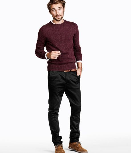 210c3e09d6c H&m Chinos in Purple for Men (burgundy) - Lyst | T H E LOOK | Black ...