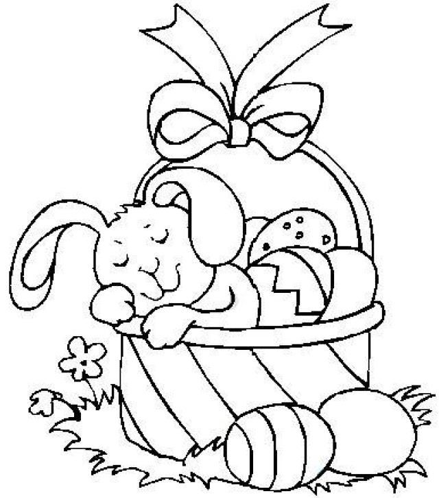 Bunny Sleeping In An Easter Basket Coloring Page Easter Coloring