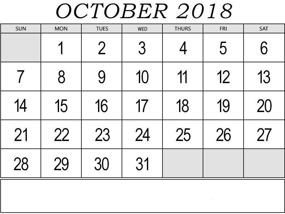 Monthly Calendar October 2018 Templates Fillable October 2018