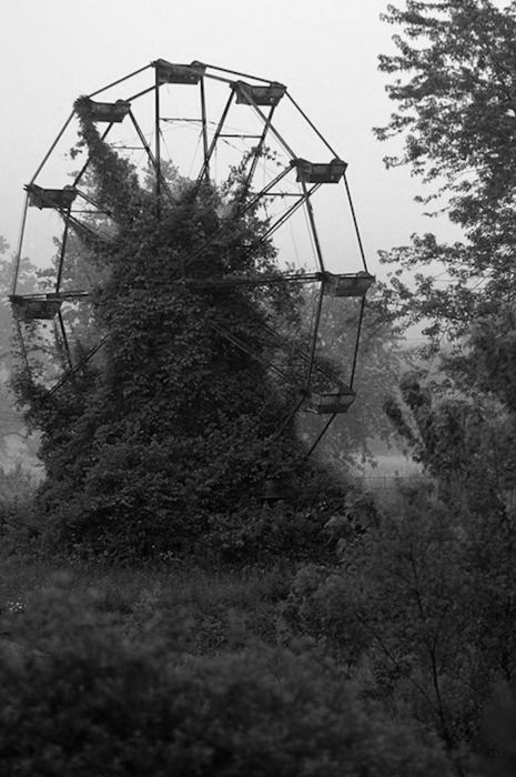 Nothing spookier than abandoned carnival rides. West Virginia.