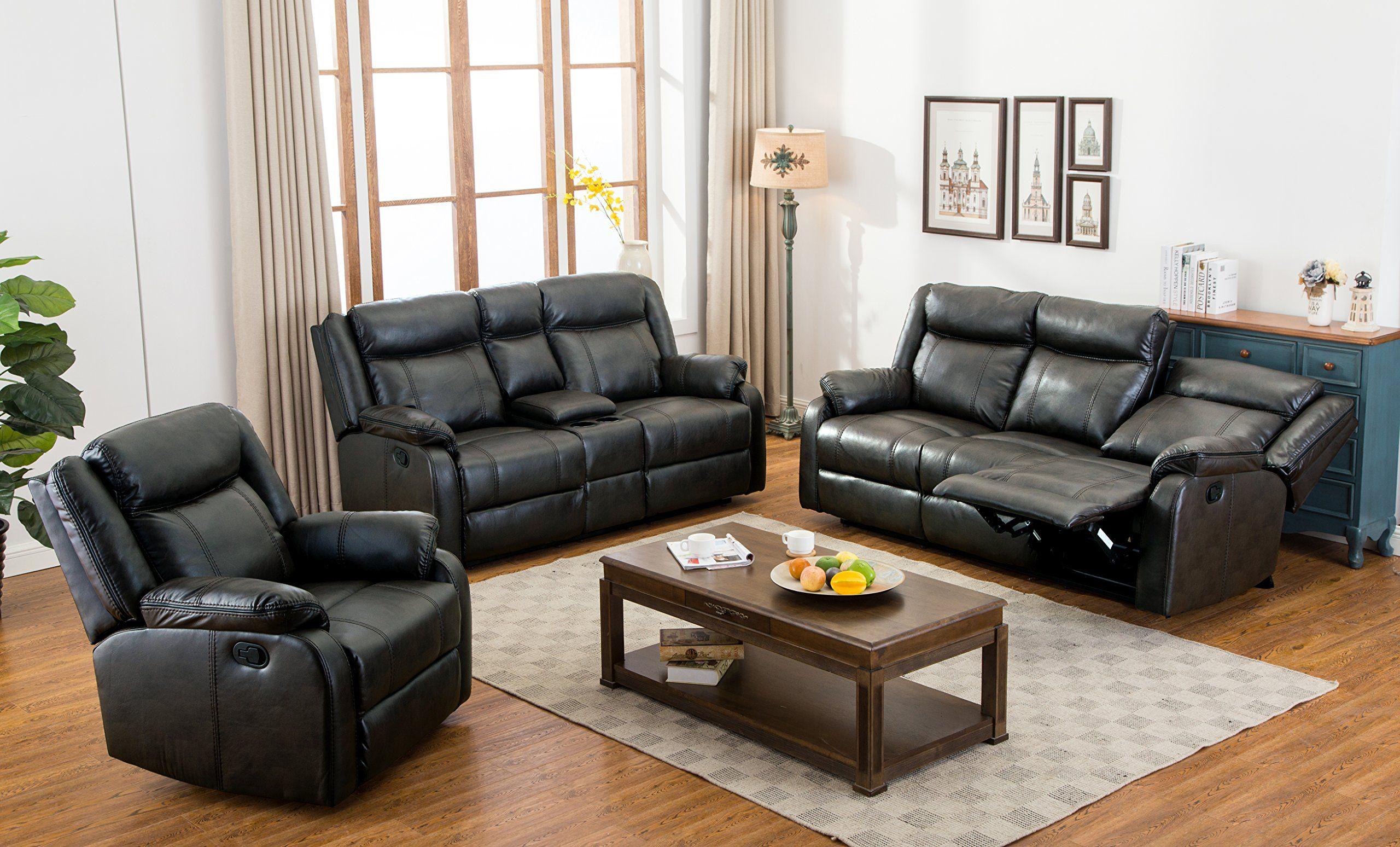 Roundhill Furniture 3 Piece Novia Leather Air Living Room Set