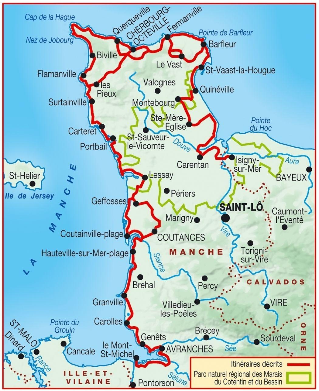 carte du cotentin détaillée Carte topoguide tour du Cotentin carte   GR223 | Carte randonnée