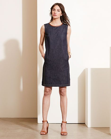 00fca0805c8 Leather-Trim Denim Dress - Lauren Short - RalphLauren.com
