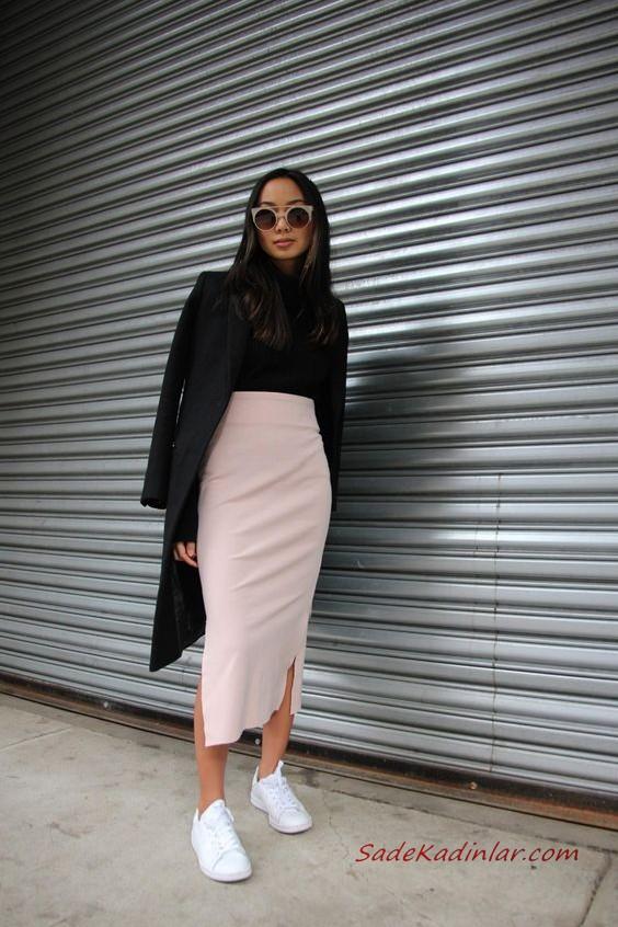 2020 Bayan Kalem Etek Kombinleri Siyah Dantel Kalem Etek Vizon Bogazli Kazak Beyaz Stiletto Ayakkabi Siyah El Cantasi 2020 Stil Kiyafetler Isyeri Tarzi Tarz Moda