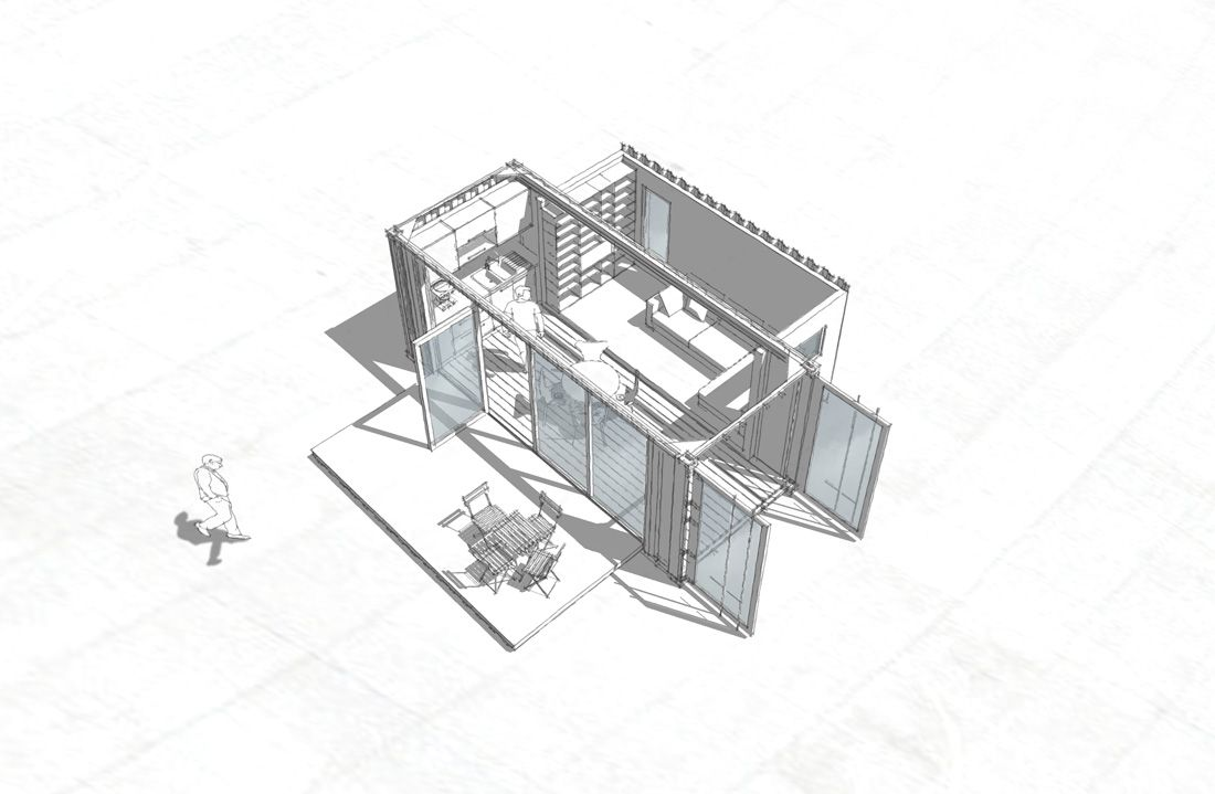 Minimal House Single 20ft | 2x20ft | Container Drawings, Floor Plans ...