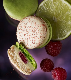 Lime & Raspberry macaron - #love #food #sex #erotic #sexy #small #thing #pastry #French #macarons  http://love-food-sex.blogspot.com/