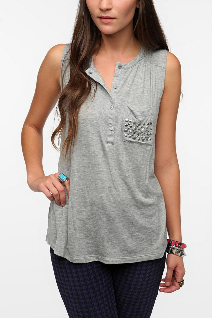 Daydreamer LA Studded Pocket Henley Tank Top  #UrbanOutfitters    love this in blue too