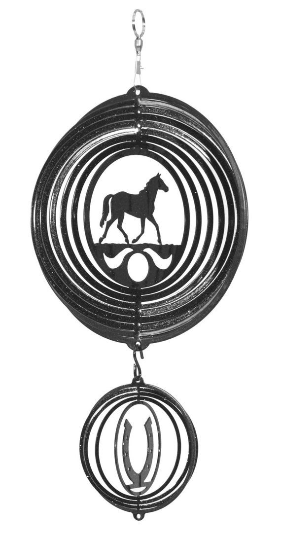English Springer Spaniel Dog BLACK Metal Swirly Sphere Wind Spinner *NEW*