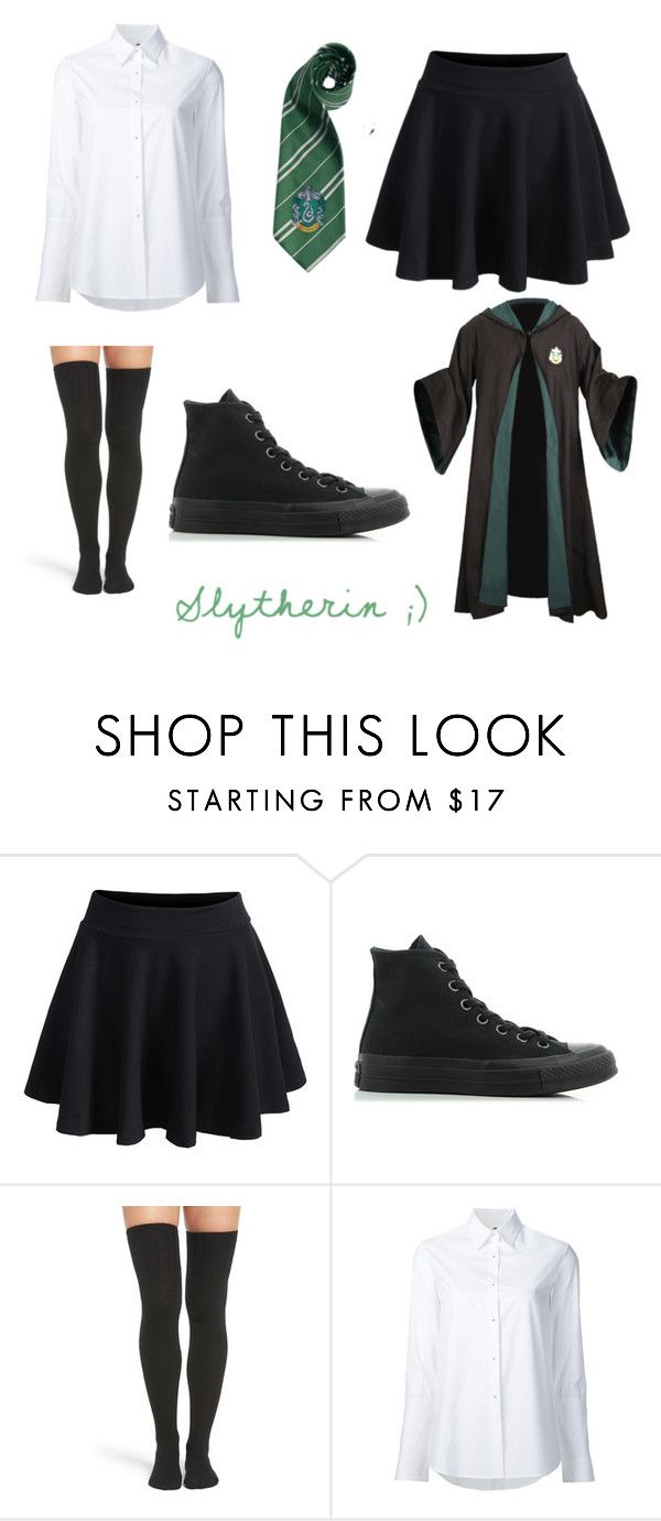 """""""Slytherin 3"""" by princessvreni ❤ liked on Polyvore featuring WithChic, Converse, Peony & Moss and Misha Nonoo"""