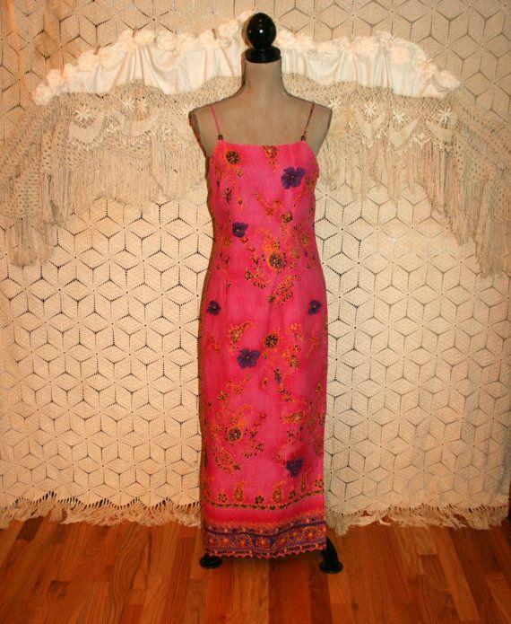 Vintage Summer Maxi Dress Hawaiian Beach Dress by MagpieandOtis