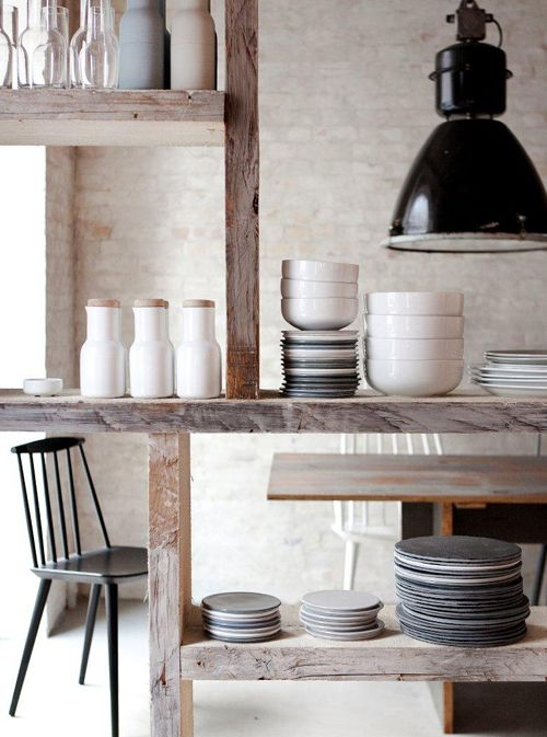 exposed wood, and matching dinnerware I want that Pinterest