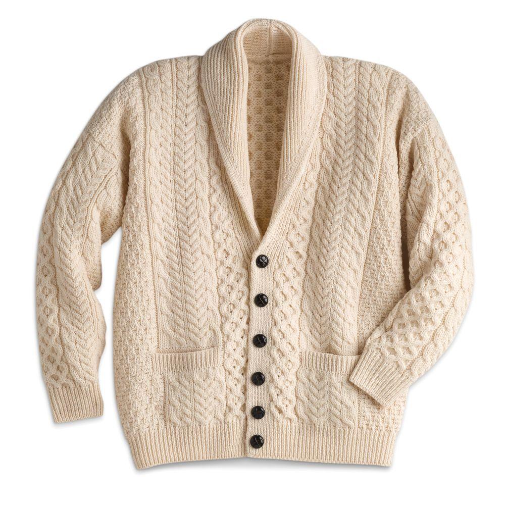 Men\'s Aran Shawl-collar Cardigan | Mis cosas | Pinterest | Suéteres ...