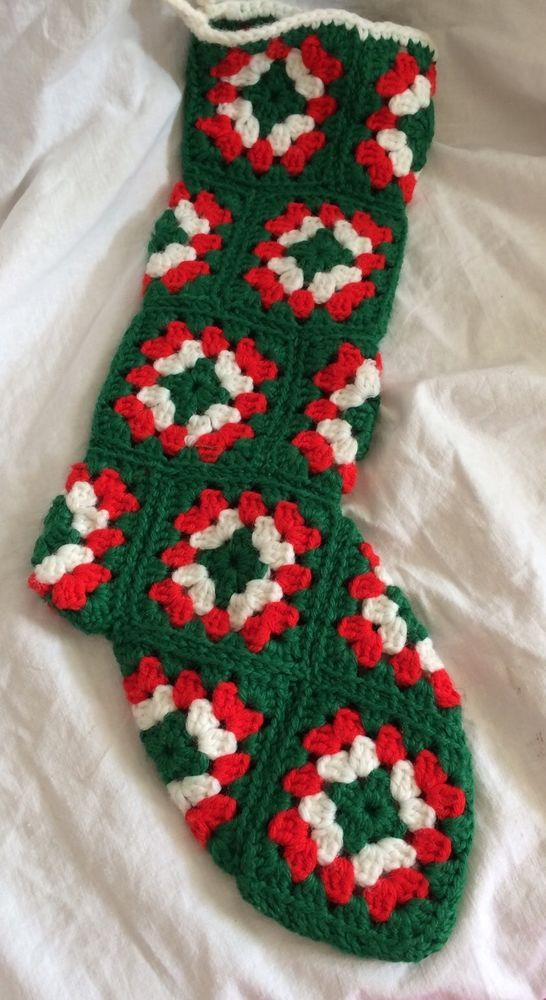 Vintage Christmas Stocking Granny Square Crochet Red White Green 17\