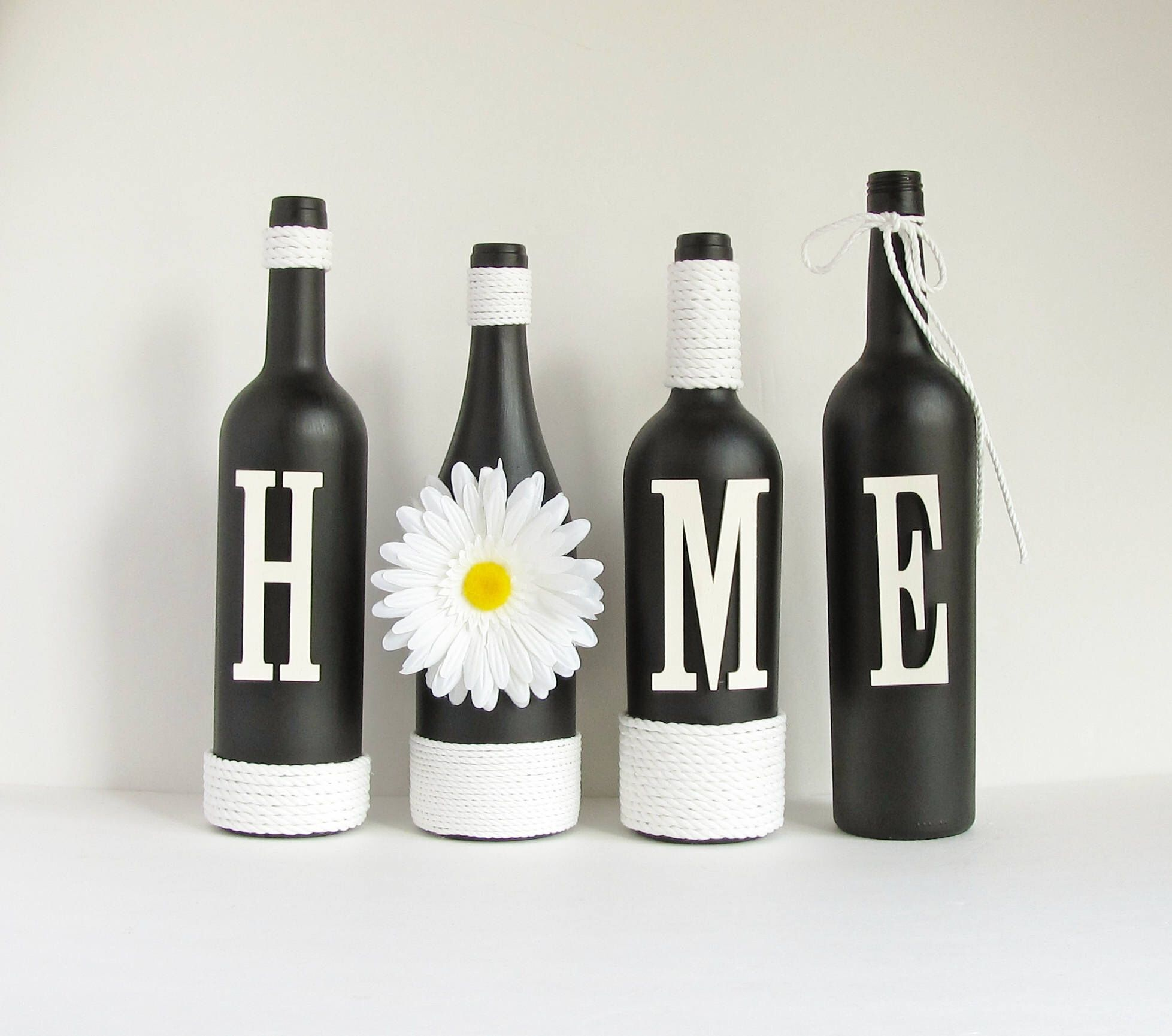 Black Home Wine Bottle Set Home Bottle Set Rustic Bottle Set