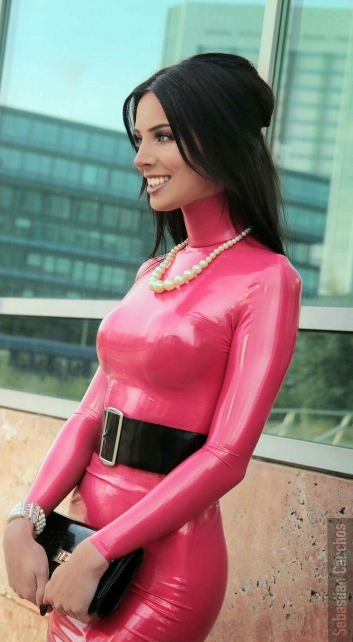 Babe rubber pink costume Hot
