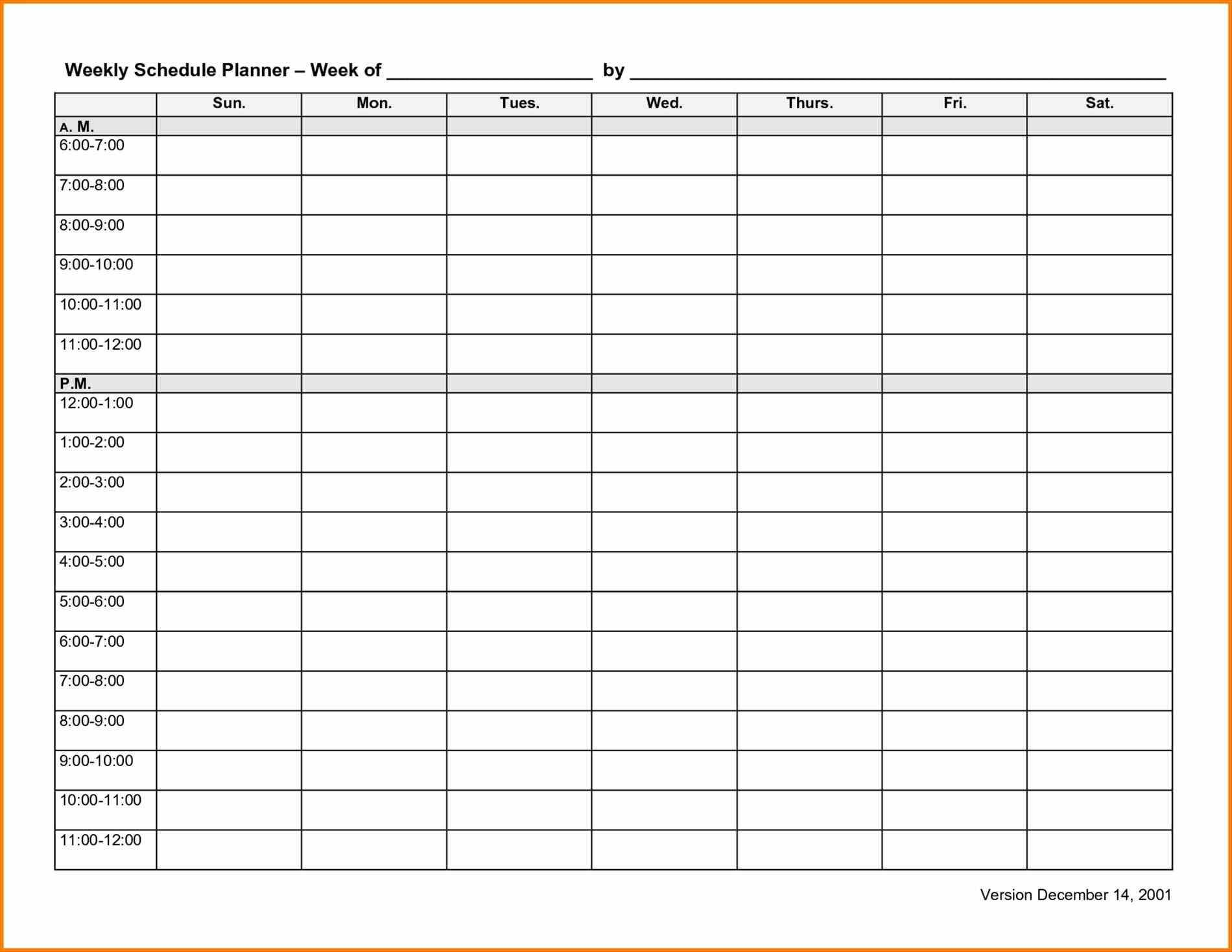 Weekly Work Planner Template Employee Schedule Template Weekly