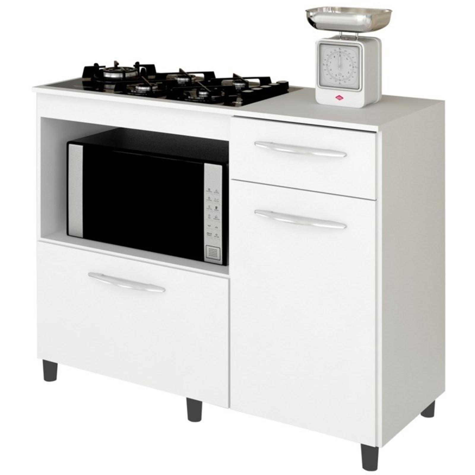 Balcao De Cozinha Cooktop E Forno Microondas Mali Branco Lumil