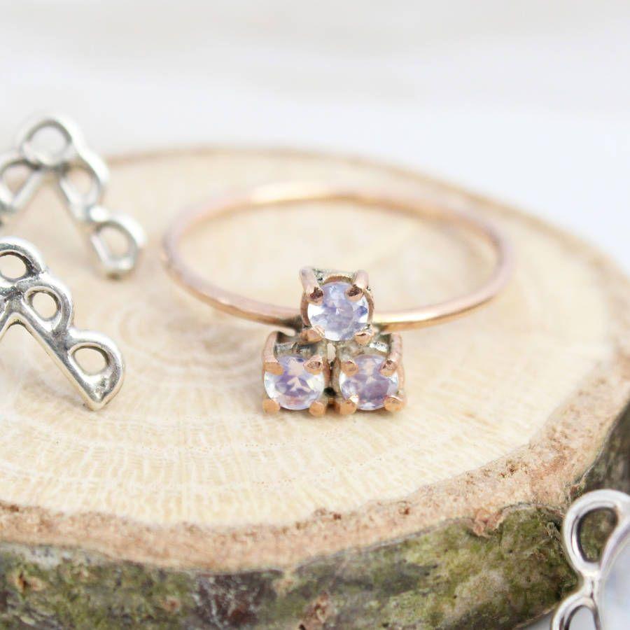 Tai, 9ct Rose Gold Trio Moonstone Ring